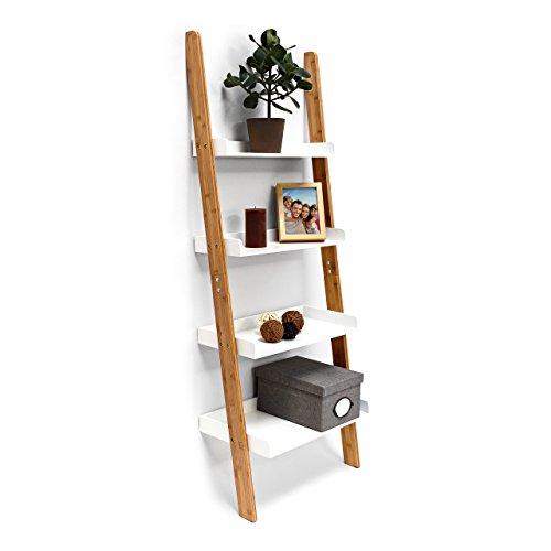 Relaxdays Leiterregal Bamboo H x B x T: 144 x 56 x 34 cm Regal aus Bambus mit 4 praktischen Ablagen aus Holz als dekoratives Wandlehnregal für das Arbeitszimmer und Wohnzimmer als Standregal, weiß