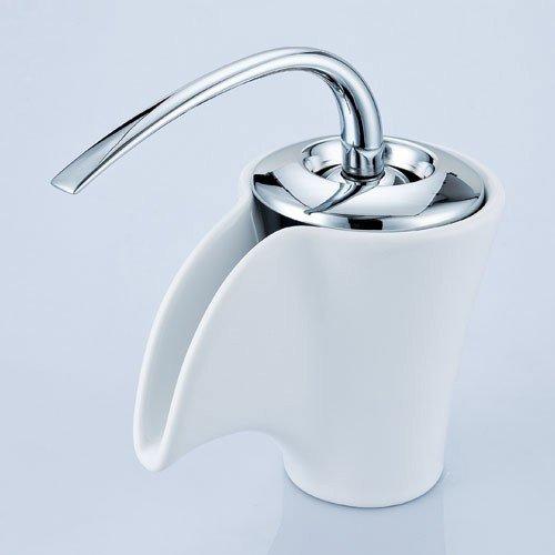 Retro Bad Waschbecken Einhebel Wasserfall Armatur Weiss Keramik und Chrom