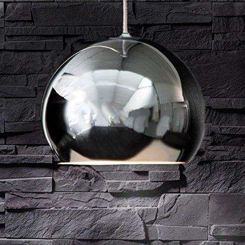 Retro Design Pendelleuchte Hängeleuchte Leuchte Pendellampe Hängelampe Lampe lounge CHROME CASQUE Ball rund Kugel chrom verchromt E27 Wohnzimmer Esszimmer 28cm 13070