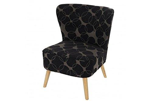 Retro Sessel Polstersessel schwarz grau gemustert Loungesesel Vintage Design