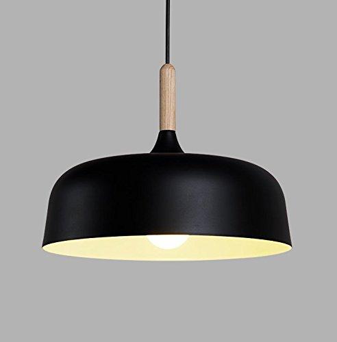 Retro Vintage LED Pendelleuchte Lampenschirm Wohnzimmer Schlafzimmer LED Hängeleuchte Metall Höhenverstellbar Hängeleuchte 1x E27 max. 60W, Ø 32 cm ( Schwarz )