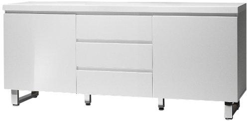 Robas Lund 48904W1 Sydney Sideboard, 2 Türen / 3 Schubkästen, Chromfüße, 167 x 74 x 42 cm, Hochglanz weiß