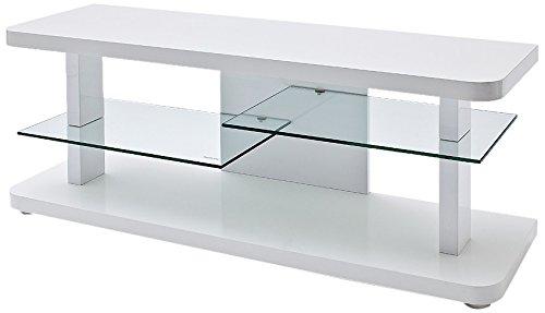 Robas Lund 59078W14 TV-Lowboard Cult, Hochglanz weiß, 2 Glasböden, B/T/H circa 110 x 40 x 50 cm