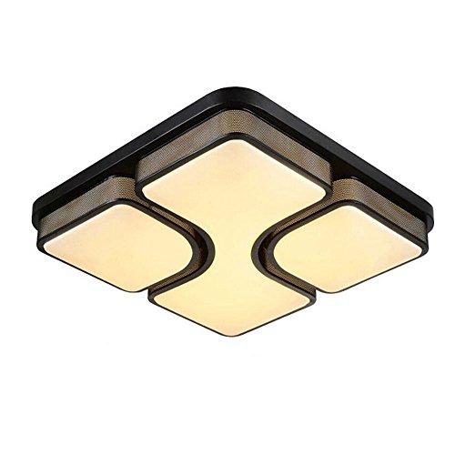 SAILUN 48W LED Modern Deckenleuchte Warmweiß Deckenlampe Panel Lampe Energiespar Licht für Wohnzimmer Wandlampe Acryl-Schirm lackierte Rahmen Durchbohrte Design 530*530*130mm Schwarz