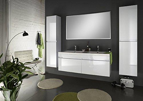 SAM® Badmöbel Set Parma 4tlg Komplettset in Hochglanz weiß, 140 cm breiter Doppel-Waschplatz, Badezimmermöbel bestehend aus 1 x Spiegel, 1 x Doppel-Waschplatz und 2 x Hochschrank