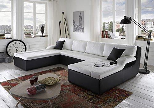 SAM® Design Wohnzimmer Sofa Landschaft Rosella 230 x 335 x 190 cm in weiß / weiß / schwarz designed by Ricardo Paolo® Lieferung bereits montiert per Spedition