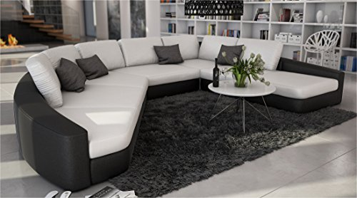 SAM® Sofa Garnitur in weiß - schwarz DOMENCIA designed by Ricardo Paolo® 380 x 290 cm Wohnlandschaft zeitlos modern Kissen inklusive Ottomane links Lieferung per Spedition