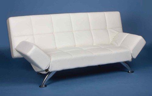 Schlafsofa von MACO - Funktionssofa Gästebett Schlafcouch Kunstleder in weiß mit Chromfüßen