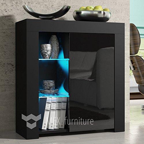 Schwarz MDF matt Effekt Schrank/Sideboard Hochglanz LED Wohnzimmer Schlafzimmer Home Office Schrank Möbel Aufbewahrung