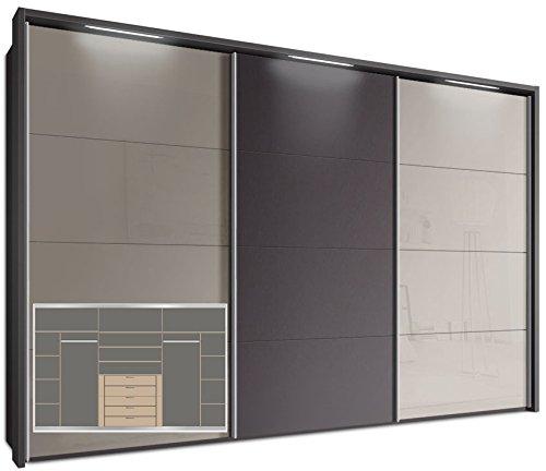 Schwebetürenschrank, ca. 340 cm, inkl. Passepartout mit 3 x LED Stripes & Komplett Ausstattung, Kleiderschrank