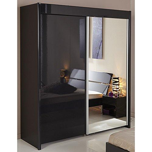 Schwebetürenschrank hochglanz schwarz 2 Türen B 182 cm Kleiderschrank Schrank Wäscheschrank Schiebetürenschrank Kinderzimmer Jugendzimmer