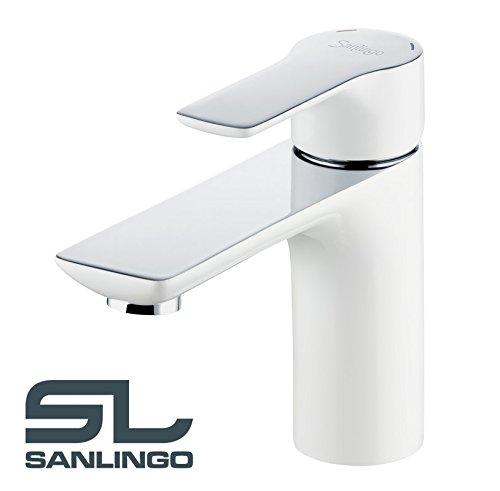 Serie JASO Bad Waschtisch Waschbecken Einhebel Armatur Wasserhahn Weiss Weiß Chrom Sanlingo