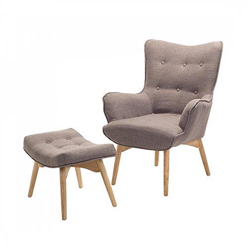 Sessel Grau-Braun - Ohrensessel - Relaxsessel - Stuhl + Hocker - Polstersessel - VEJLE