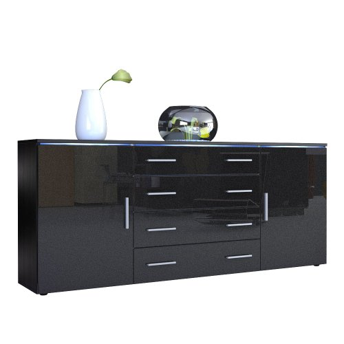 sideboard kommode faro v2 korpus in schwarz matt front in schwarz metallic hochglanz m bel24. Black Bedroom Furniture Sets. Home Design Ideas