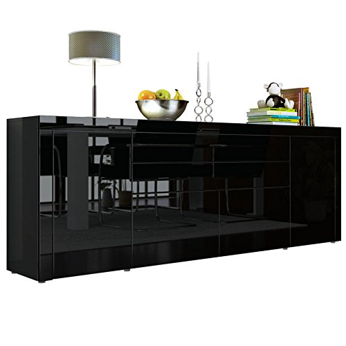sideboard kommode la paz v2 in schwarz hochglanz schwarz hochglanz schwarz hochglanz m bel24. Black Bedroom Furniture Sets. Home Design Ideas