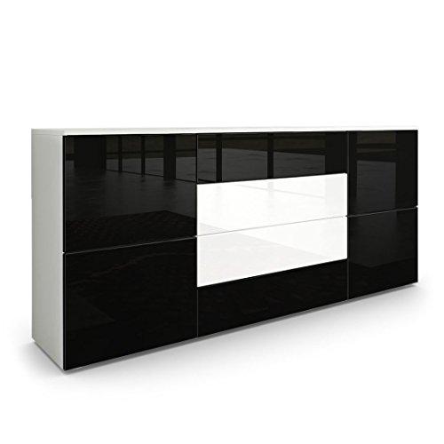 Sideboard Kommode Rova, Korpus in Weiß matt / Fronten in Schwarz Hochglanz und Weiß Hochglanz