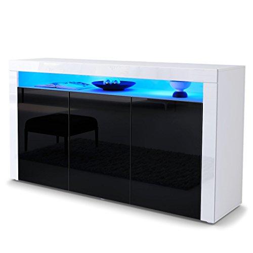 sideboard kommode valencia korpus in wei matt front in schwarz hochglanz mit rahmen in wei. Black Bedroom Furniture Sets. Home Design Ideas