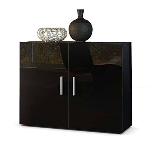 sideboard kommode vega in schwarz schwarz hochglanz m bel24. Black Bedroom Furniture Sets. Home Design Ideas
