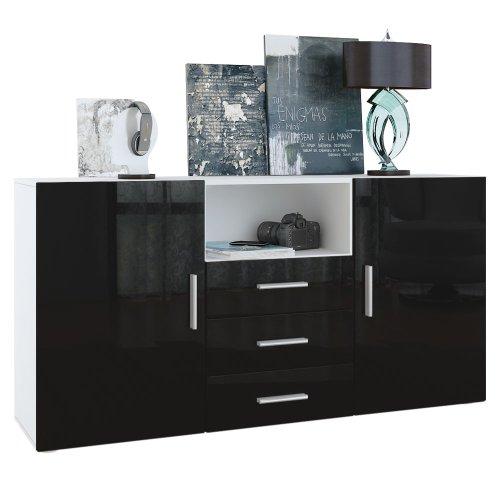 sideboard skadu in wei schwarz hochglanz m bel24. Black Bedroom Furniture Sets. Home Design Ideas