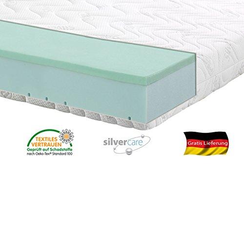 Silver Orthopädische 7 Zonen Premium Silver Care Visco Kaltschaum Matratze Höhe ca. 20 cm 140 x 200 cm H3 - Silver Care Bezug