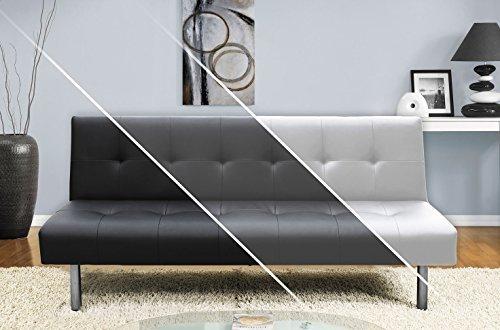 Sofa DELHI Schlafsofa Klappsofa Kunstleder Couch Schlafcouch Klappcouch Garnitur (Weiß)
