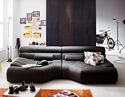 Sofa TARA Wohnlandschaft Stoff grau mit Kissen