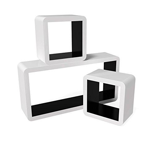 Songmics 3er Set Lounge Cube Regal Retro Wandregal Rack Hängeregal Farben auswählbar (Weiß-Schwarz) LWS92B