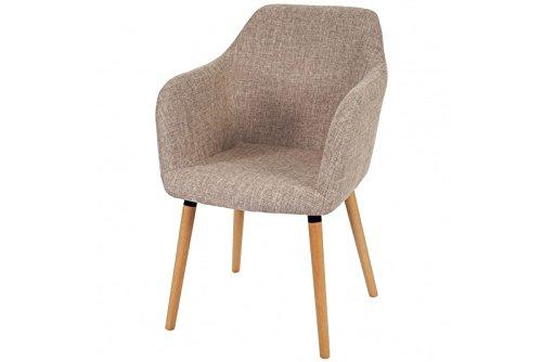 Stuhl creme grau Polstersessel Esszimmerstuhl Sessel Esszimmer retro Textil