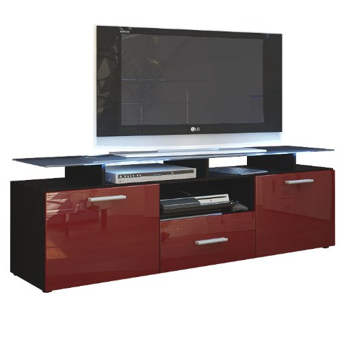 TV Board Lowboard Almada, Korpus in Schwarz matt / Front in Bordeaux Hochglanz