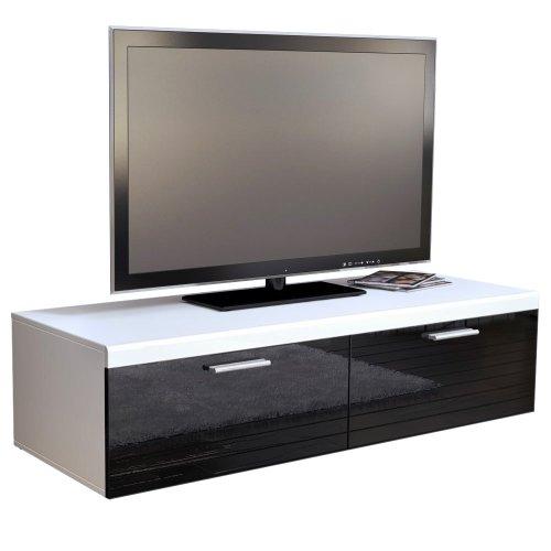 TV Board Lowboard Atlanta in Weiß / Schwarz Hochglanz