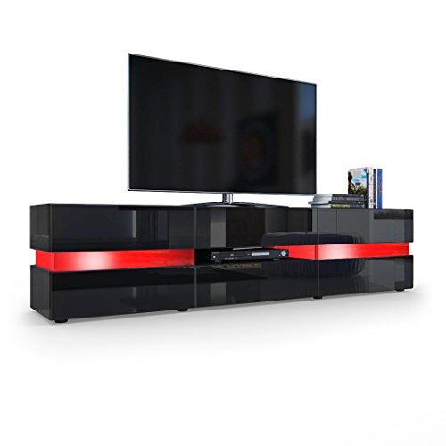 TV Board Lowboard Flow, Korpus in Schwarz Hochglanz / Front in Schwarz Hochglanz inkl. LED Beleuchtung