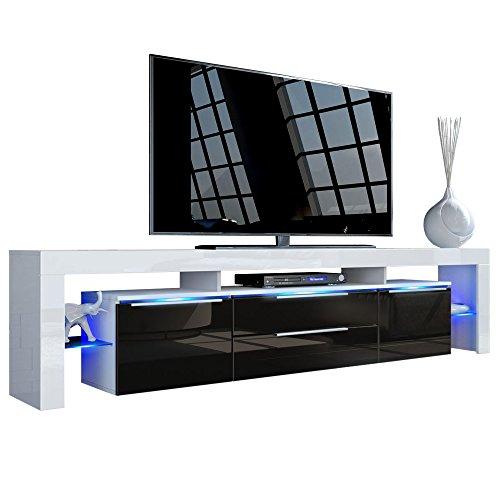TV Board Lowboard Lima Nova V2, Korpus in Weiß matt / Front in Schwarz Hochglanz
