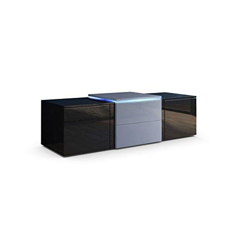 TV Board Lowboard Salina, Korpus und Türen in Schwarz Hochglanz / Schubkästen und Erhöhung in Grau Hochglanz inkl. LED Beleuchtung