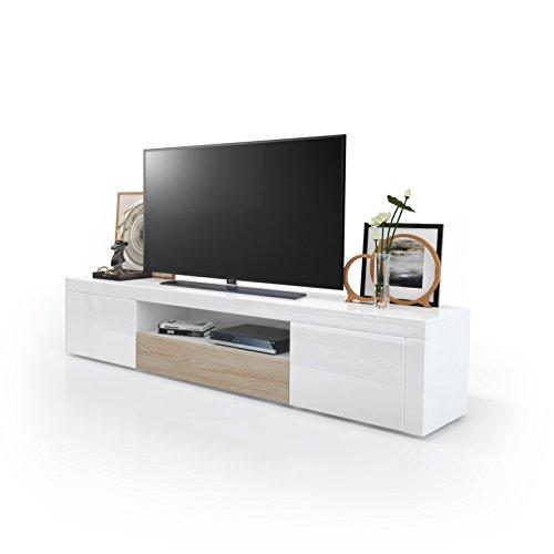 TV Board Lowboard Santiago, Korpus in Weiß Hochglanz / Fronten in Weiß Hochglanz und Eiche sägerau