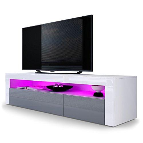 TV Board Lowboard Valencia, Korpus in Weiß matt / Front in Grau Hochglanz mit Rahmen in Weiß Hochglanz
