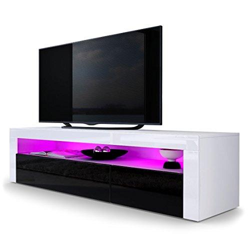 TV Board Lowboard Valencia, Korpus in Weiß matt / Front in Schwarz Hochglanz mit Rahmen in Weiß Hochglanz