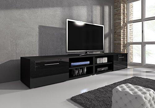 TV-Element TV Schrank TV-Ständer Entertainment Lowboard Vegas Korpus Schwarz Matt/Fronten schwarz hochglanz 240cm