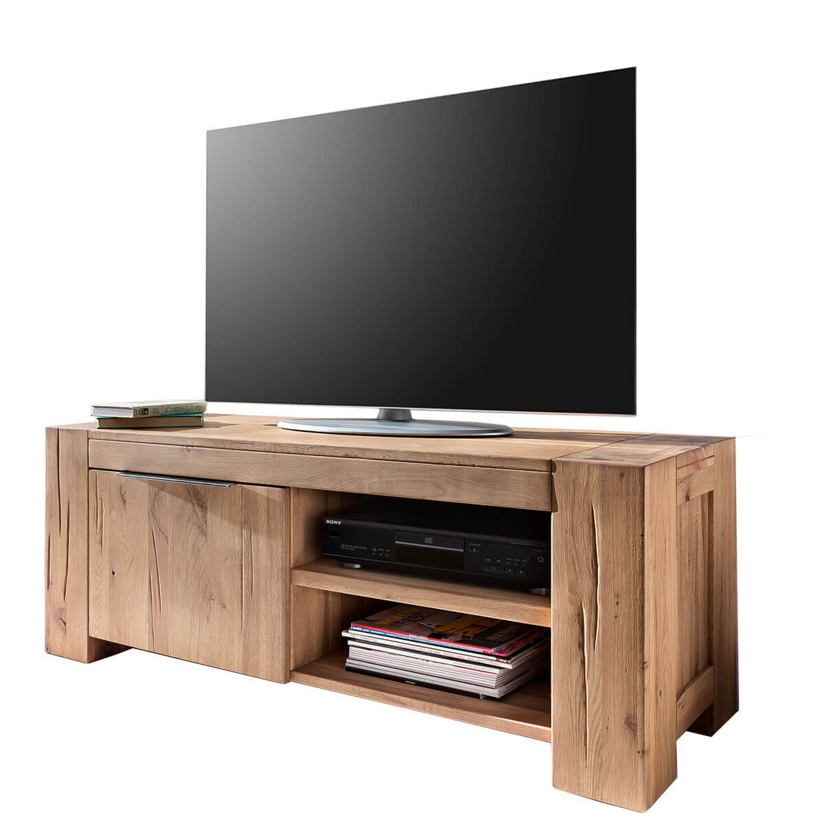 tv lowboard in eiche natural 130 cm m bel24. Black Bedroom Furniture Sets. Home Design Ideas