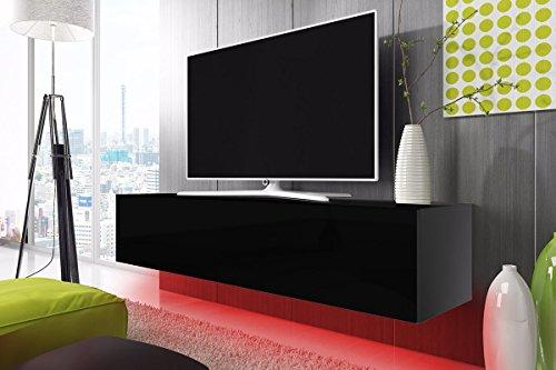 TV Schrank Lowboard Hängeboard SIMPLE mit LED Rot (schwarz matt / schwarz hochglanz 160 cm)