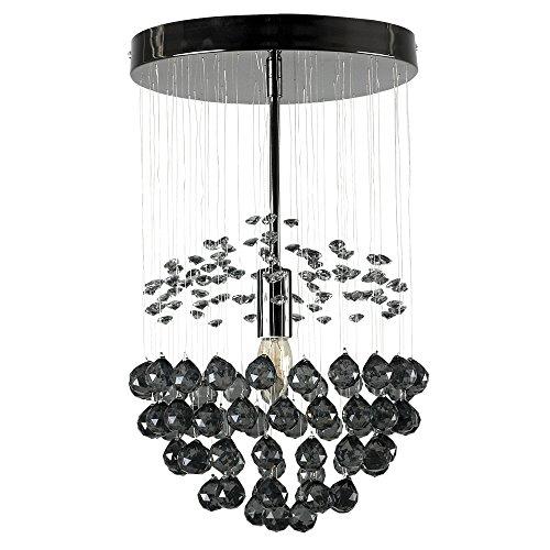 Tolle Pendelleuchte in schwarzem chrom und im Wasserfall-/Kugeldesign mit schwarzen Juwelen und Tropfen aus Acryl