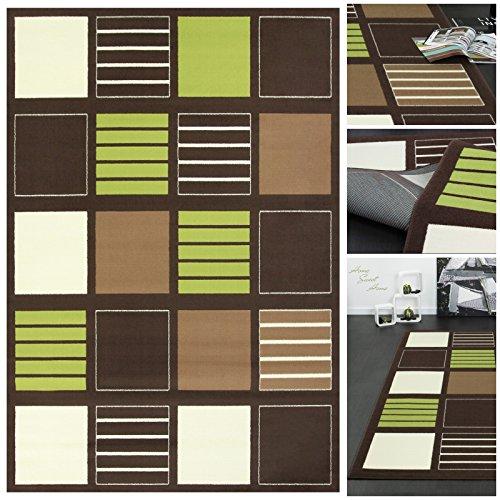 trendiger designer teppich mit elegantem karo muster in braun gr n creme teppich l ufer. Black Bedroom Furniture Sets. Home Design Ideas