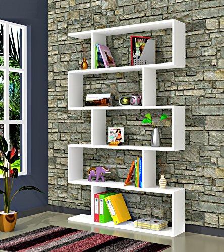 VOLANS Bücherregal - Weiß - Standregal - Wandregal- Raumteiler in modernem Design