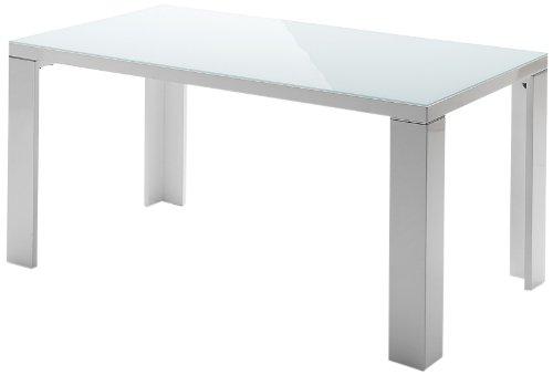 Vierfußtisch Tizio - Tischplatte Hochglanz weiß lackiert / Glasplatte - Beine mit Aluminiumapplikation - Farbe: weiß - Maße in B/H/T: ca. 140x76x90 cm