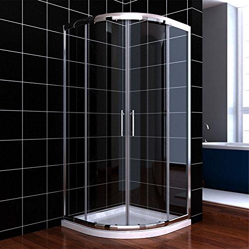 Viertelkreis Duschkabine 90x90 Duschabtrennung mit Duschtasse Runddusche Schiebetür Dusche Duschwand