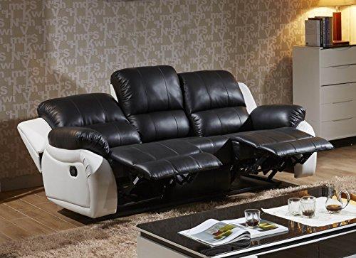 Voll-Leder Fernsehsessel Couch Sofa-Garnitur Relaxsessel Polstermöbel 5129-3-SW sofort