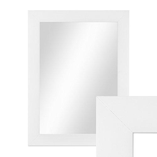 Wand-Spiegel 38x48 cm im Holzrahmen Schlicht Modern Weiss / Spiegelfläche 30x40 cm
