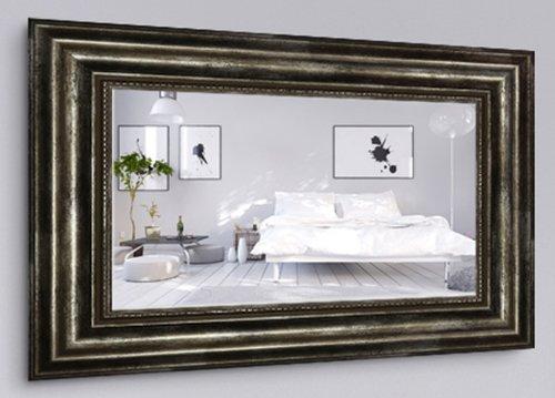 WandStyle H550-031 Wandspiegel Spiegel Barock Modern Antik Massivholz Silber (30 x 30 cm)