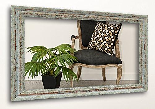 WandStyle H740-009 Wandspiegel Spiegel Shabby-Chic Landhaus Massivholz Grau (70 x 100 cm)