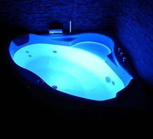 Whirlpool Badewanne Paris MADE IN GERMANY mit 8 Massage Düsen + LED Unterwasser Beleuchtung / Licht + Balboa + OHNE Armaturen Eckwanne Jakuzzi Spa runde Eckbadewanne innen günstig