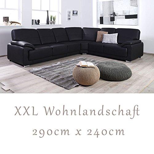 """Wohnlandschaft, Couchgarnitur """"NADIA"""", in Softlux Schwarz"""